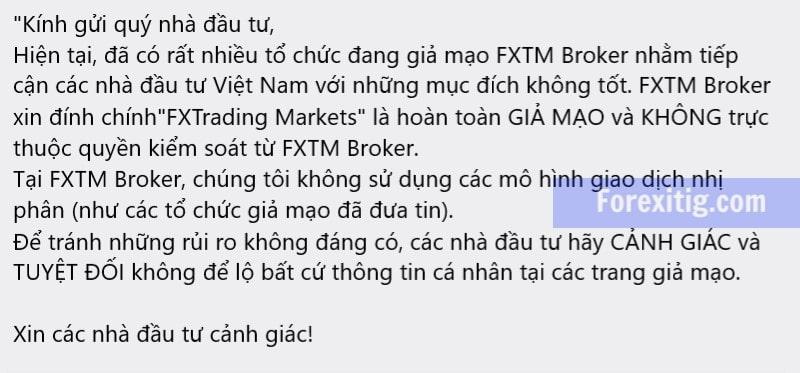 FXTM cảnh báo Fx trading market giả danh