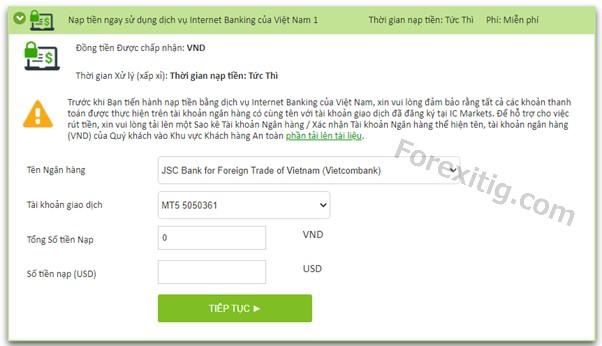 Internet Banking cho nạp và rút tiền ICmarkets