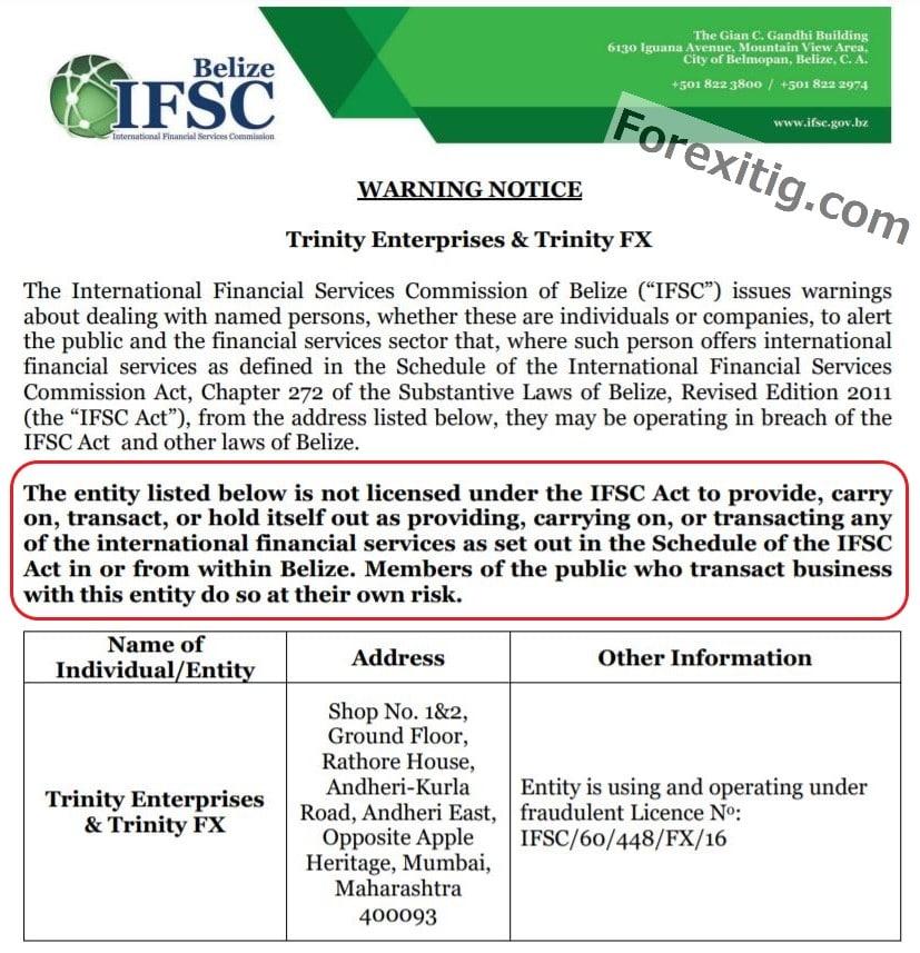 IFSC Belize cảnh báo Trinity Enterprises & Trinity FX